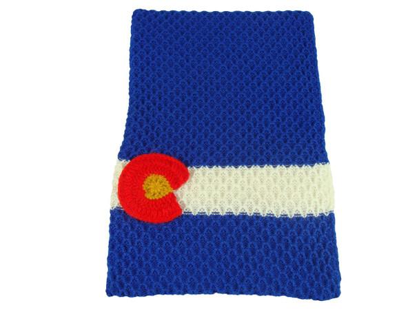 "Colorado Flag Scarf in 100% Alpaca Hand Knit 9"" x 74"" 003733"