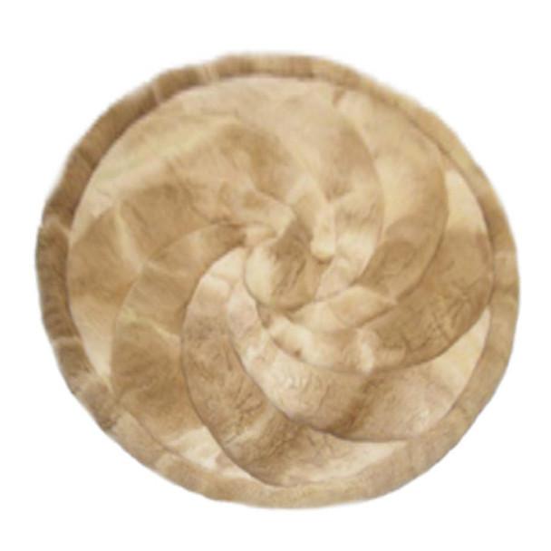 "Alpaca Fur Rug Round Swirl Tan 24"" - Design 02"