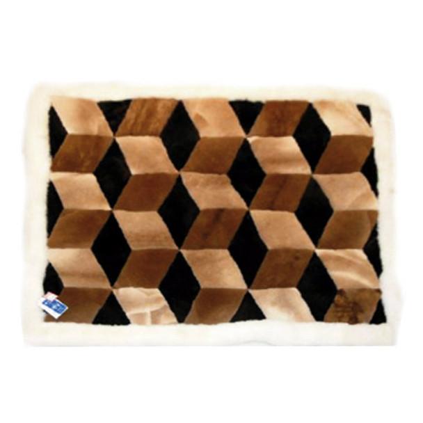 "Alpaca Fur Rug Chestnut Cubes 22"" x 32"" - Design 05"