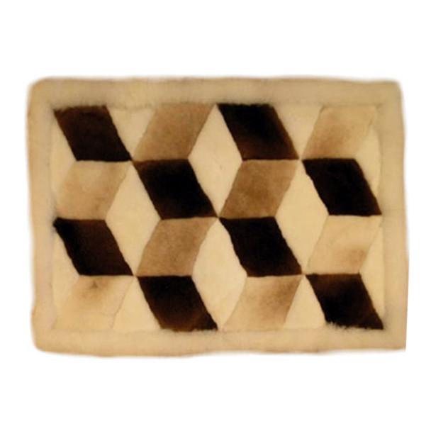 """Alpaca Fur Rug Cubes Earth Tones 22"""" x 32"""" - Design 10"""
