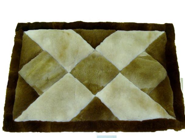 "Alpaca Fur Rug Crisscross Pattern 22"" x 32"" - Design 17"