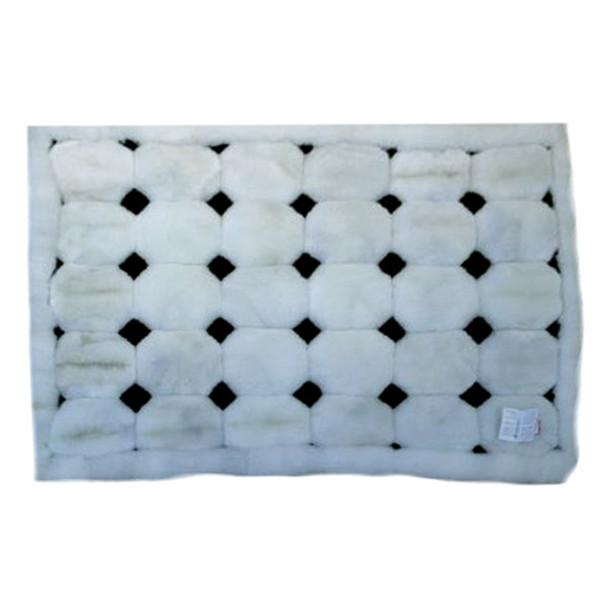 "Alpaca Fur Rug Dots on White 22"" x 32"" - Design 31"