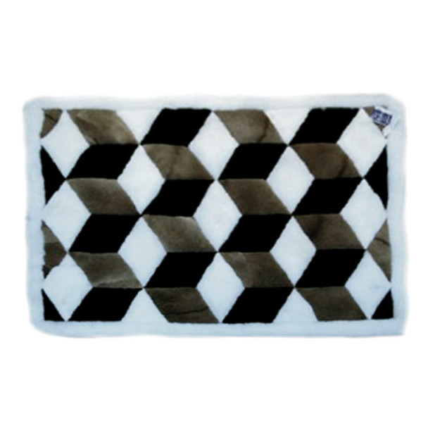 Alpaca Fur Rug Cubes Tri-Color Black, Brown and White - Design 34