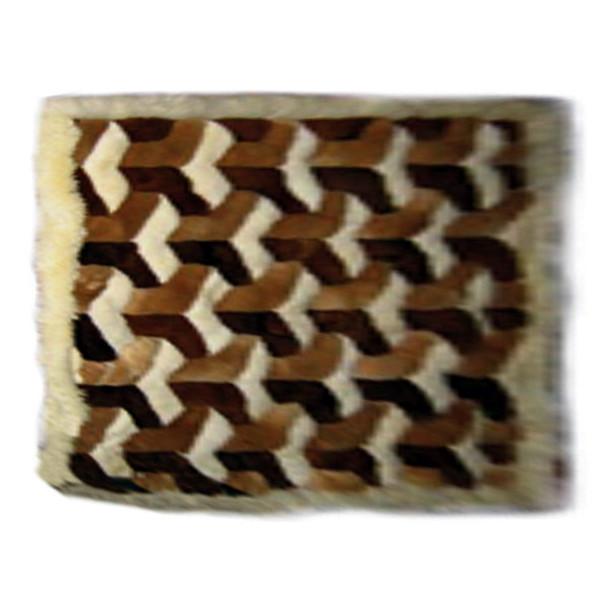 Alpaca Fur Rug Cubes 3D Tri-Colored Natural Shades 2' x 3'- Design 35