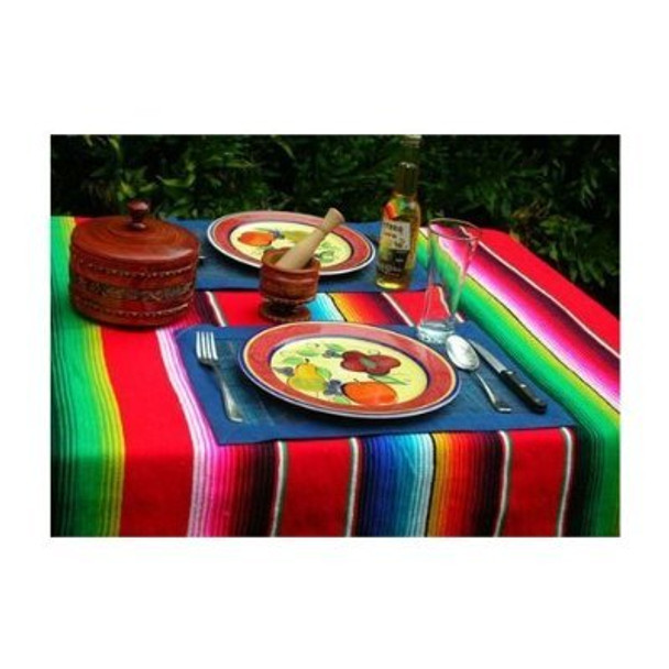 Sarape Mexican Saltillo Cotton Blanket / Throw Assorted Colors