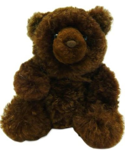 """Brown Plush Alpaca Fur Teddy Bear 15"""" Natural Shade"""