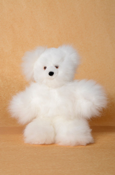 "Alpaca Fur Teddy Bear White 15"" Fair Trade Artisan Produced Peru"
