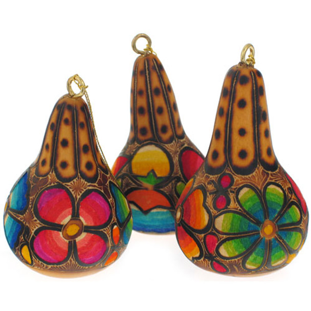 """Floral Gourd Primavera Ornament 3"""" Bright Colors Hand Dyed Carved"""