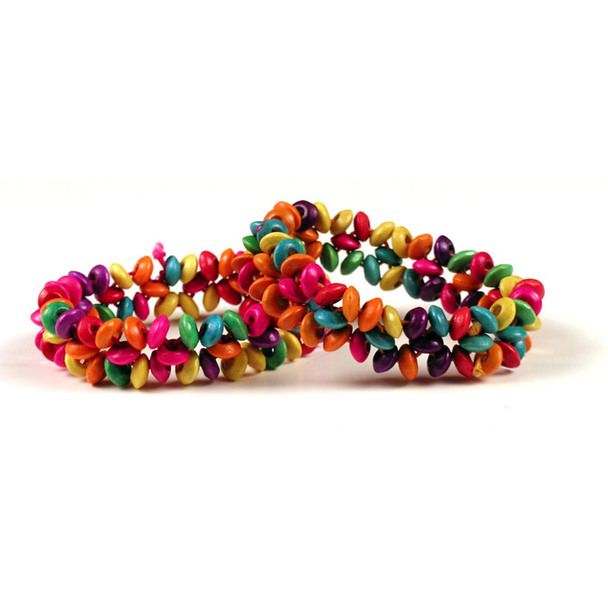 Fine Wooden Stranded Floral Multicolor Bracelet Amazon