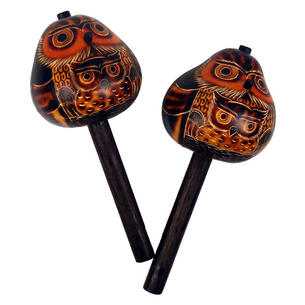 """Peruvian Finely Carved Gourd Owl Stick Maraca Singles 7"""" Natural Colors"""