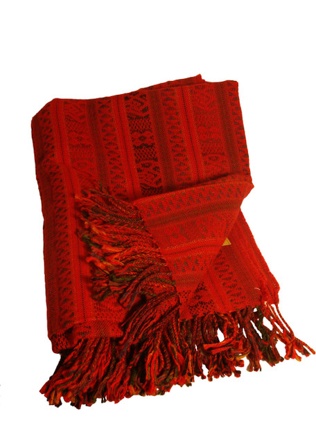 Warm 100% Alpaca Wool Blanket Covered with Glyphs of the Legendary Paracas Culture Reversible