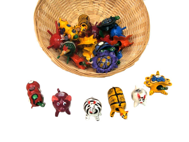 """Wooden Bobble Heads Hand Painted Oaxaca Mexico Assortment 2-3"""""""