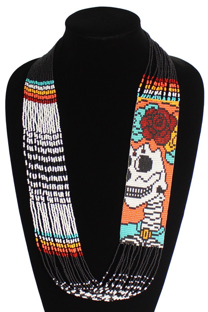 """Double Magnetic Clasp Glass Fine Bead Katrina Day of the Dead 2"""" Necklace Icon"""