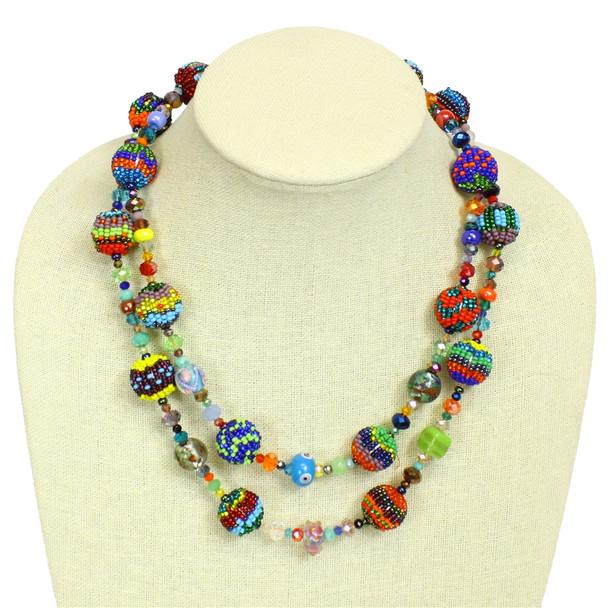 "NE506 Artisan Glass 2 Strand Beads Crystal Necklace 20"" Mayan Jewel Multicolor"