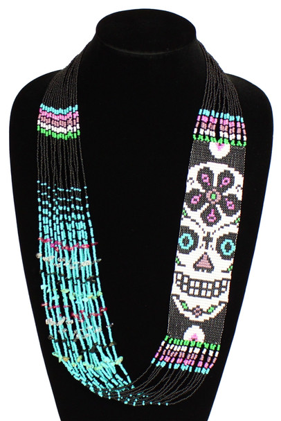 "Black and Pink Dia de los Muertos Necklace Glass Beads Fine Strands 22"" NE602"