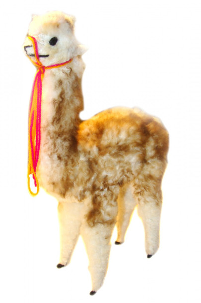 "Alpaca Standing Plush Doll Vicuna 12"" Tall Hand Made Peru"
