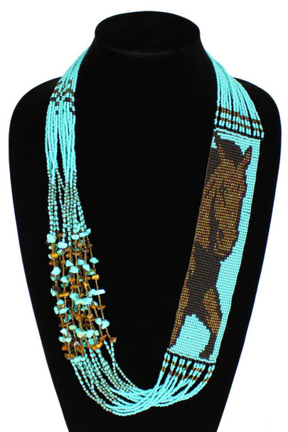 Horse Equestrian Western Gorgeous Hand Beaded Unique Necklace