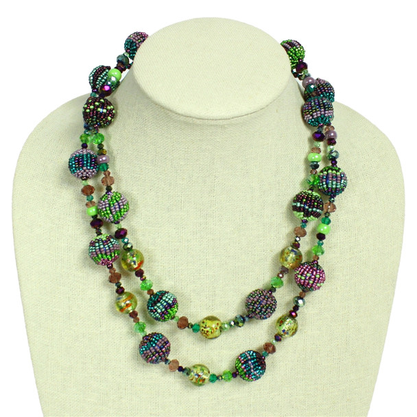"""NE506-105 Double Strand Necklace Crystal and Glass Necklace 22"""" Guatemala"""