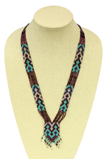 Split Necklace Hand Beaded Artisan Made Turquoise and Purple