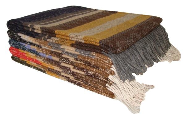 "Tri-Colored Woven 100% Alpaca Brushed Blanket 60"" x 84"" Super Fine"