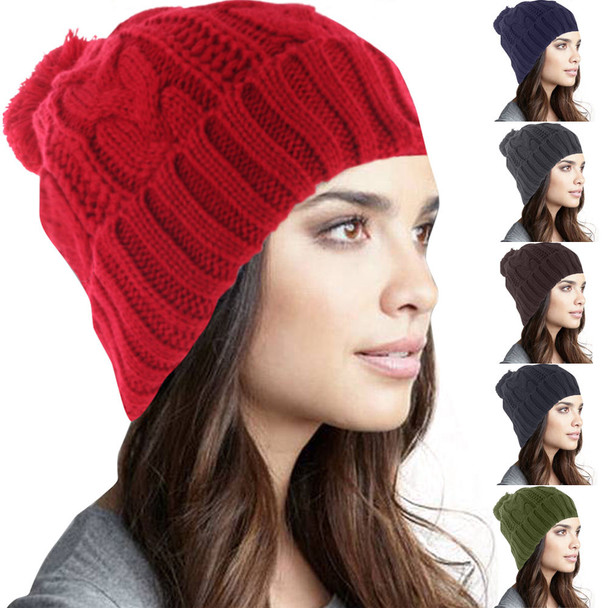 Solid Color Beanie with PomPom