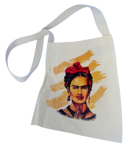 "Frida Kahlo Self Portrait Canvas Tote Bag 14"" x 16"" Hand Silksreened"