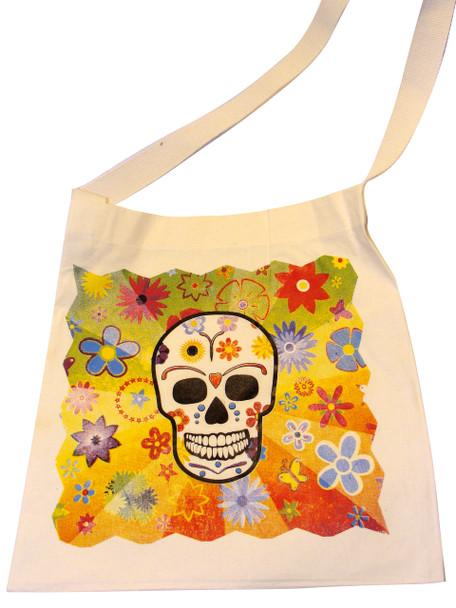 Canvas Sugar Skull Tote Style 9 Calavera Skull tote bag, Day of the Dead tote bag, Sugar Skull bag, Skull bag, la muerta bag, Library bag, Reusable shopping bag,