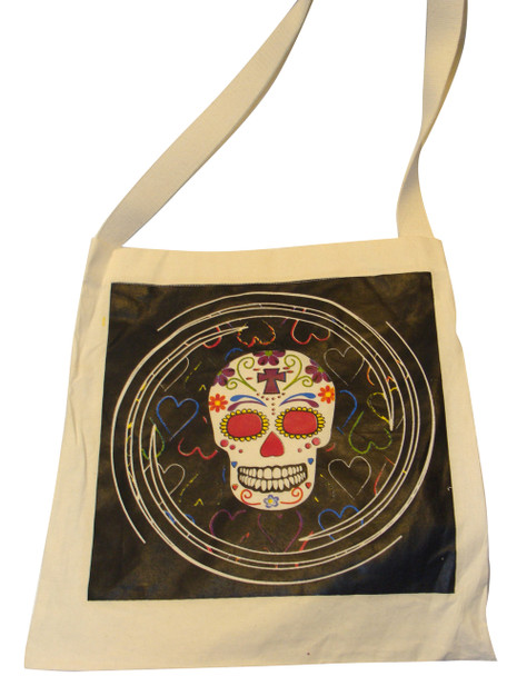 Sugar Skull Tote Printed on Canvas Day of the Dead Shoulder Bag