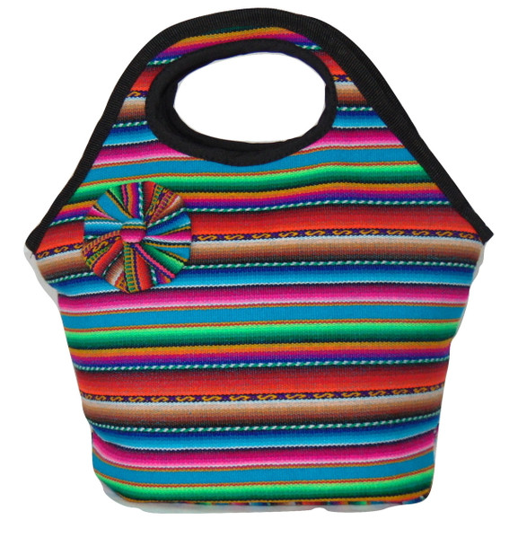 Manta Rainbow Woven Lunch Tote Zippered Pouch Purse Bag Lined