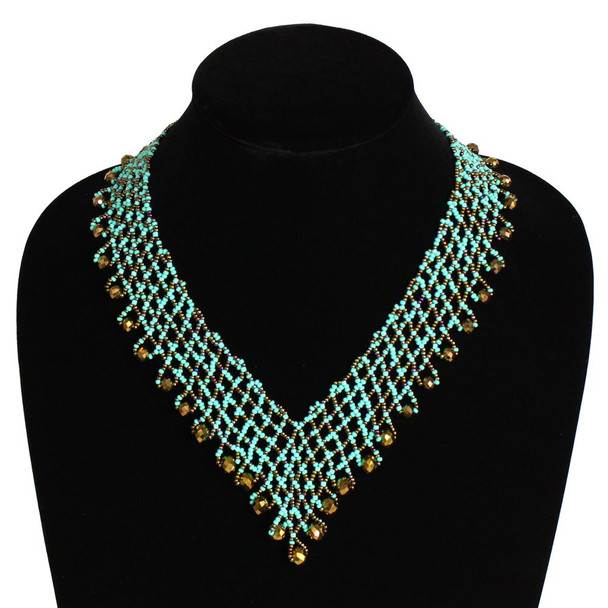 Lola Bronze and Turquoise Block V Necklace Glass and Crystals
