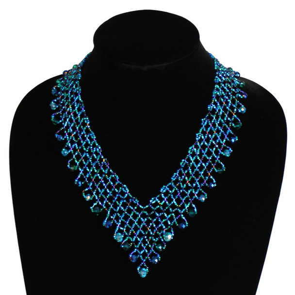 Lola Royal Blue Block V Necklace Glass and Crystals