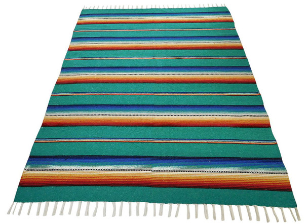 Sarape Cotton Heavy Weave Blanket Teal Striped Mexico Premium Quality