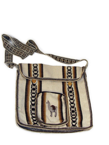 Wool Bone White Tote Bag with Llama Embroidered