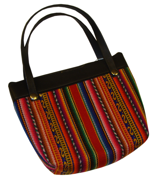 Little Purse Cotton Woven with Two Handles Aguayo Rainbow Fabric