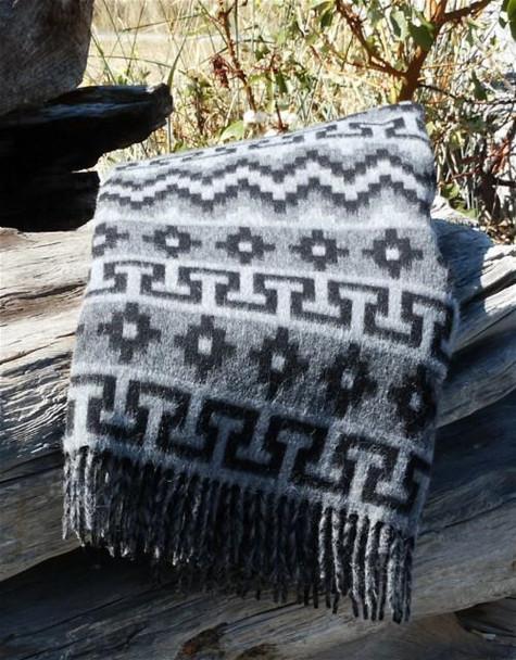 "Alpaca Brushed Blanket 50% Alpaca 50 Acrylic Gray and Silver Tones 60"" x 84"""
