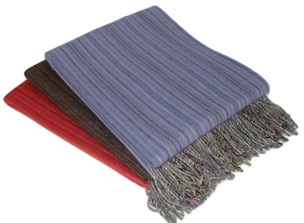 100% Alpaca Blanket Fine Stripes Reversible