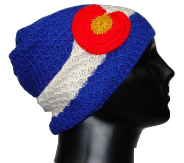 100% Alpaca Knit  Beanie Colorado Flag Cap