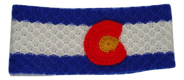 Hand knit Colorado Flag Headband 100% Alpaca Artisan made