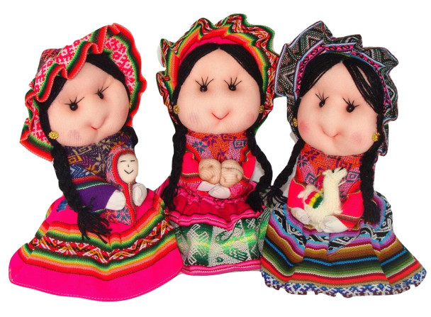 """Traditional Peasant Doll Costume Doll Peru 8"""" Hand Made Assorted"""