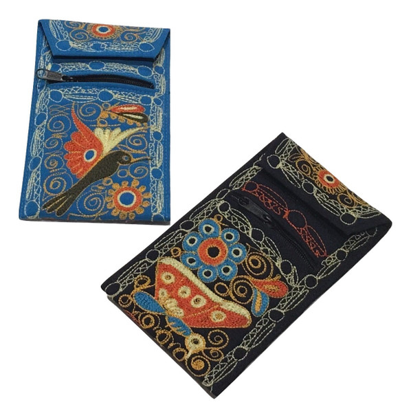 """Embroidered Wildlife Cell Phone Pouch Purse Wallet with String Zippered 3.5"""" x 7"""""""