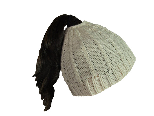 Crochet Beanie 100% Alpaca Messy Bun or High Ponytail Look Chilly Days