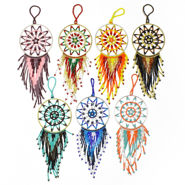 """Dream Catcher Ornaments with Glass Beads and Crystals 4"""""""