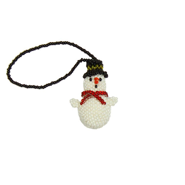 OR201 Snowman Ornament Glass Beads Guatemala Holiday Decor