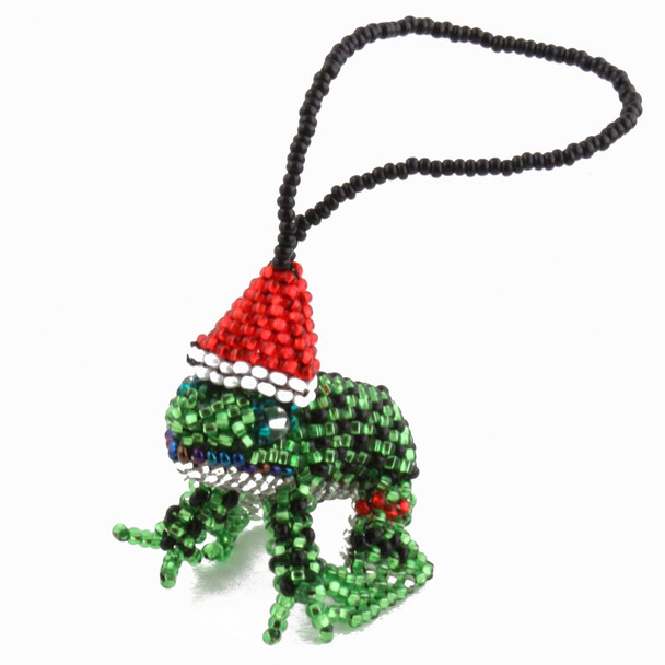 Christmas Santa Frog Ornament Guatemala Glass Beads Holiday decor