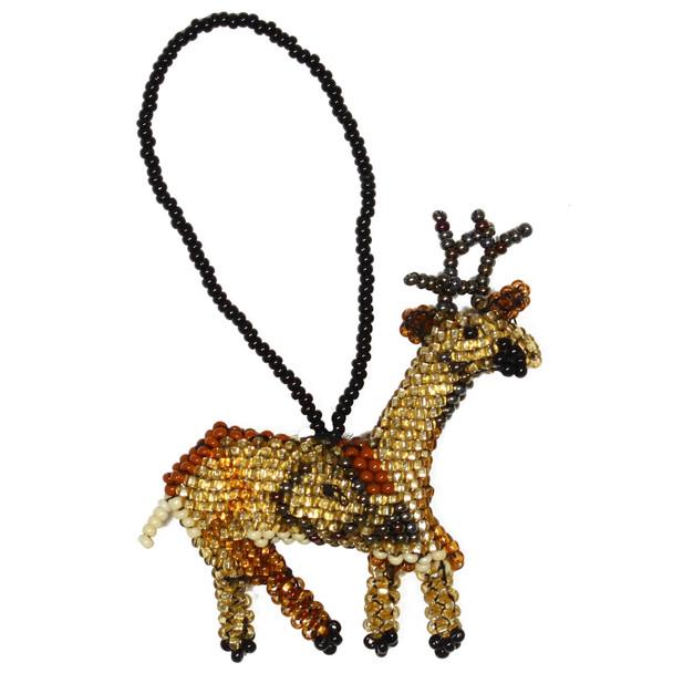 Christmas Reindeer Glass Beads Guatemala Hand Made