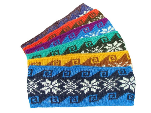Adult Size Headband Knit Alpaca with Snowflake Design Assorted Colors