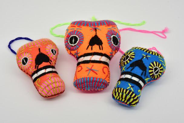 Calavera Mexican Oaxaca Felted Embroidered Ornament Sugar Skull Garland Pendant Colorful