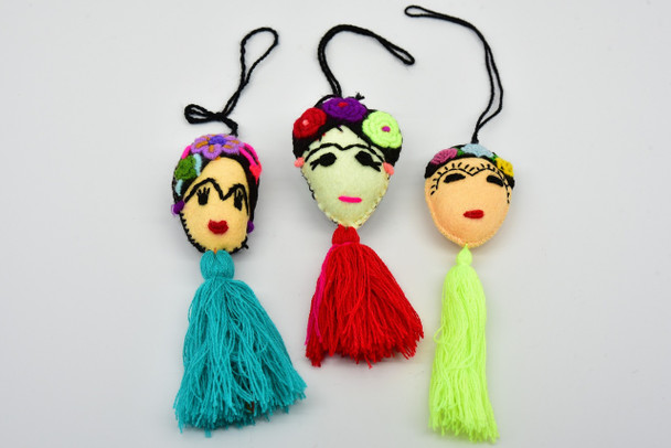 Frida Kahlo Felted Ornament Oaxaca Mexico
