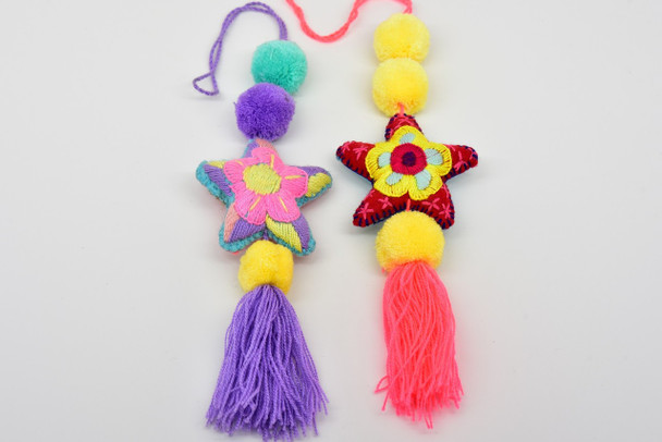 Stars with Floral Motives/ Nursery Decor Embroidered Oaxaca Ornaments