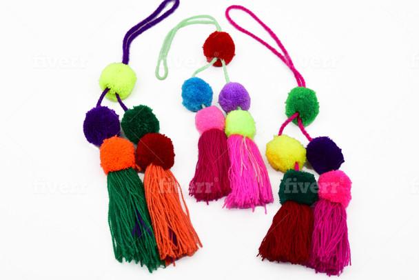 PomPom Tassels as a Garland, Belt, Curtain, Party, Wedding, Christmas Tree Decoration